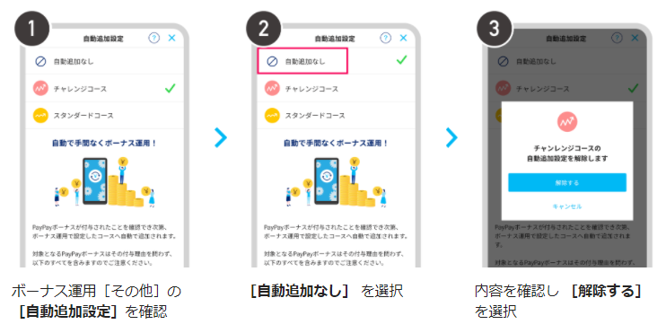 PayPayボーナス運用_自動追加機能_解除方法